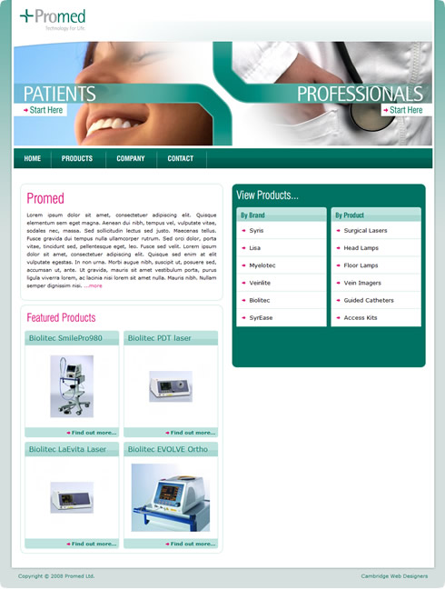 Promed were very keen to employ a Cambridgeshire website designer as ...