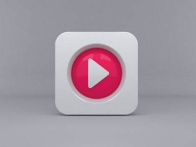 3D Play Button Icon