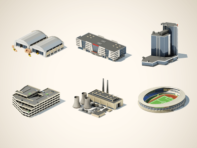 3D Buildings Icons