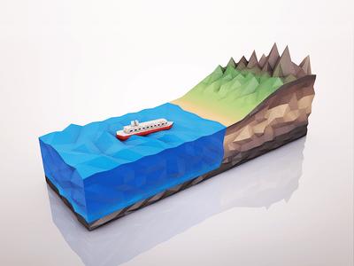 3D Ship Icon
