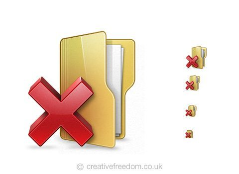 Free Delete Folder Icon, could be used to represent Remove Folder, or Delete Project icon.