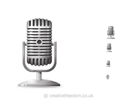 Free Microphone Icon, could be used to represent Record, Music, or Mic icon.