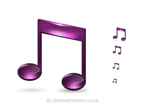 Free Musical Note Icon, could be used to represent Listen, Music, or Media icon.