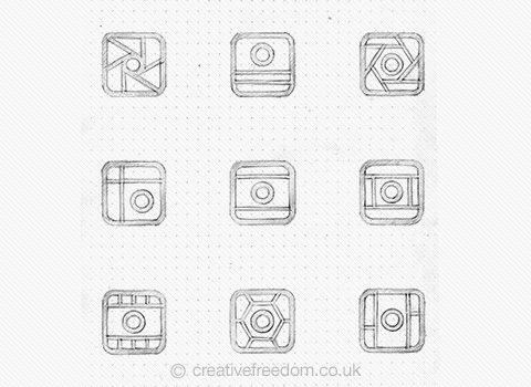Mixgram iOS App Icon Concept Sketches