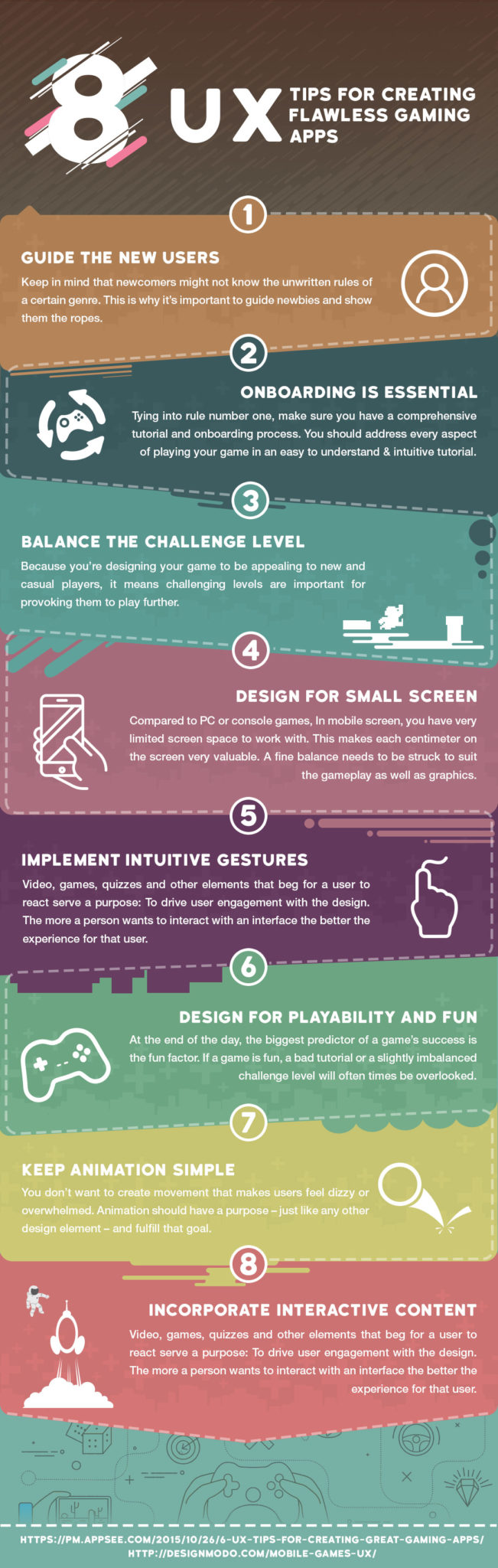 Infographic listing 8 UX tips for gaming apps