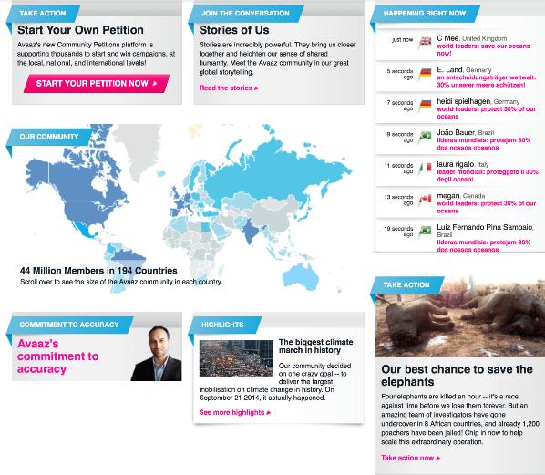 Avaaz homepage