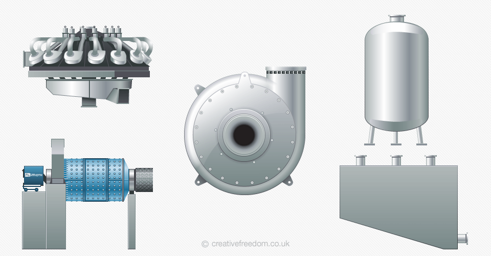 Cement Processing Machinery Icons for FLSmidth