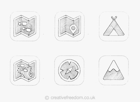 Hiking App Icon concepts