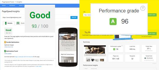performance optimised website