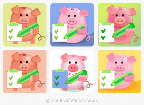 Piggy Bak App Icon Colour Options