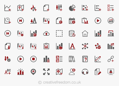 Vector icons for software GUI
